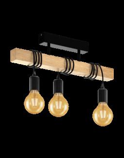 Eglo Townshend 95499 Lampa Wisząca Na Drewnianej Belce W